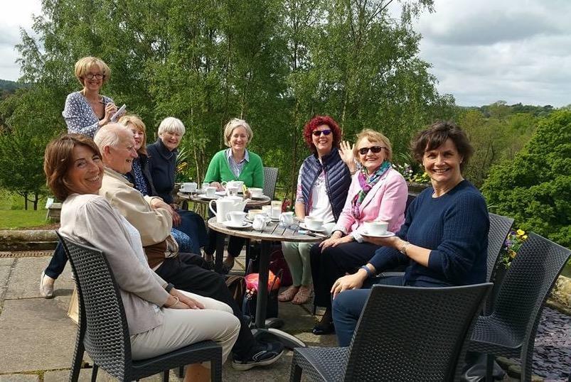 Church homegroup in garden